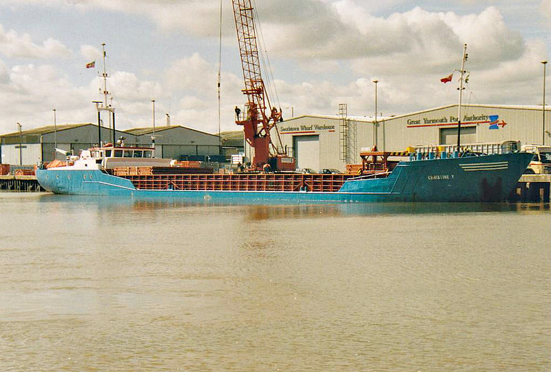 2004 to DATE - CHRISTINE Y - Cargo - 851GRT/1281DWT - 64.2 x 10.5 - 1986 Scheeps Ferus Smit & Zoon, Foxhol, No.242 as WILLY (1986-2001) - 2001 ANNA - Great Yarmouth, unloading animal feed, 13/08/07 -  07/11 to Faversham Ships., Barbados flag.