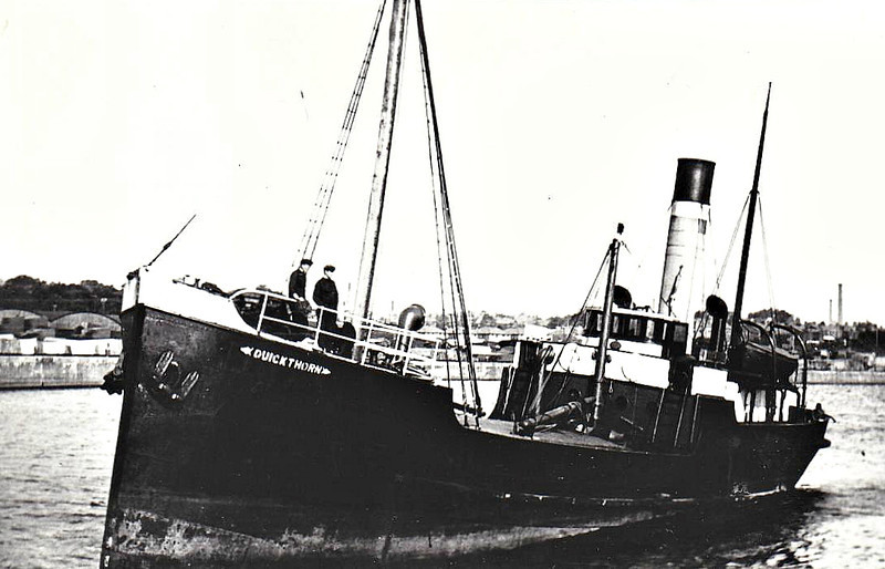 1934 to 1942 - QUICKTHORN - Cargo - 419GRT - 50.3 x 7.7 - 1903 Dundee Shipbuilders, No.143 as ROSYTH (1903-34) - 15/01/42 capsized and sank off Skokholm Island, Newport for Londonderry with coal.