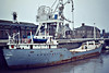 1980 to 1983 - RADCLIFFE TRADER - Cargo - 500GRT/945DWT - 61.8 x 9.6 - 1956 Scheeps Noord Nederlandsche, Groningen, No.378 as SPOLESTO (1956) - EDGEFIELD 1956-65), SARSFIELD (1965-70), VALERIE B (1970-73),  ROSEMARY D (1973-74), SILLOTH TRADER (1974-80) - 1983 MIRABELLE- 02/03/84 struck object and beached Macuira National Park, Colombia, Aruba for Cartagena - Wisbech, unloading soya meal, 11/81.