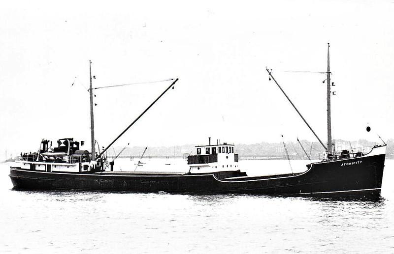 1947 to 1966 - ATOMICITY - Cargo - 592GRT/725DWT - 55.9 x 8.5 - 1947 Grnagemouth Dockyard Vo., No.471 - 1996 EOLOS - 21/06/73 mined 5nm off Tripoli, Libya, Kavalla for Triploi with limestone.