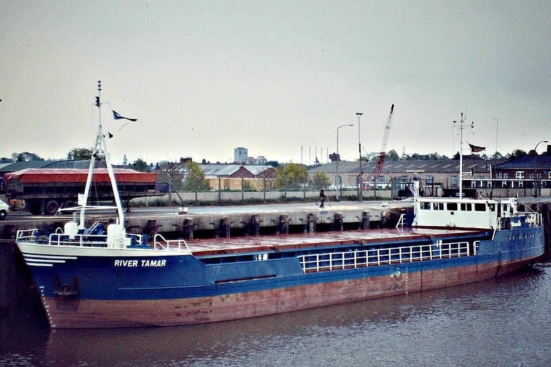 1981 to 1990 - RIVER TAMAR - Cargo - 498GRT/842DWT - 50.0 x 9.3 - 1981 JW Cook & Co., Wivenhoe, No.1465- 1990 BEN ELLAN - still trading - Wisbech, unloading soya meal, 05/82.