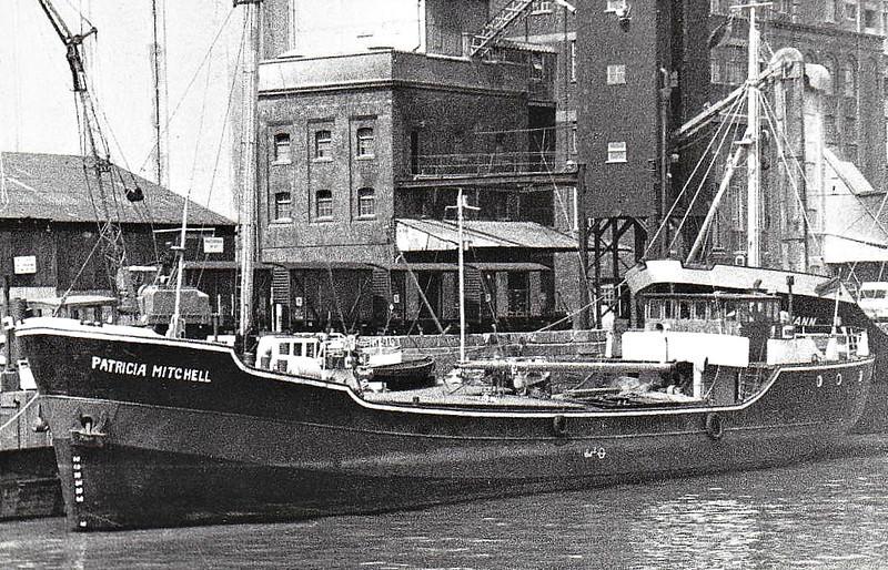 1968 to ???? - PATRICIA MITCHELL - Cargo - 226GRT/351DWT - 39.5 x 6.8 - 1938 Schiffs W Holst, Cranz, as CRANZ (1938-47) - KRAGNAES (1947-48) POLONIA (1948-52), BRITANNIA (1952-56), PATRICIA (1956-68) - fate knot known but still trading in 1988.