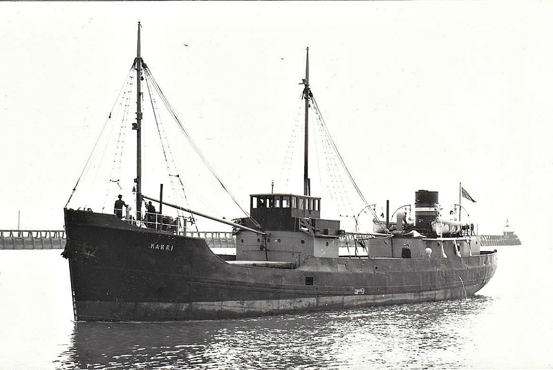 1938 to 1967 - KARRI - Cargo - 354GRT - 44.8 x 7.3 - 1938 Scott & Sons, Bowling, No. 347 - ATHANASSIOS I, 1977 SYLVIA - 19/05/77 sank 50nm southeast of Marseille.