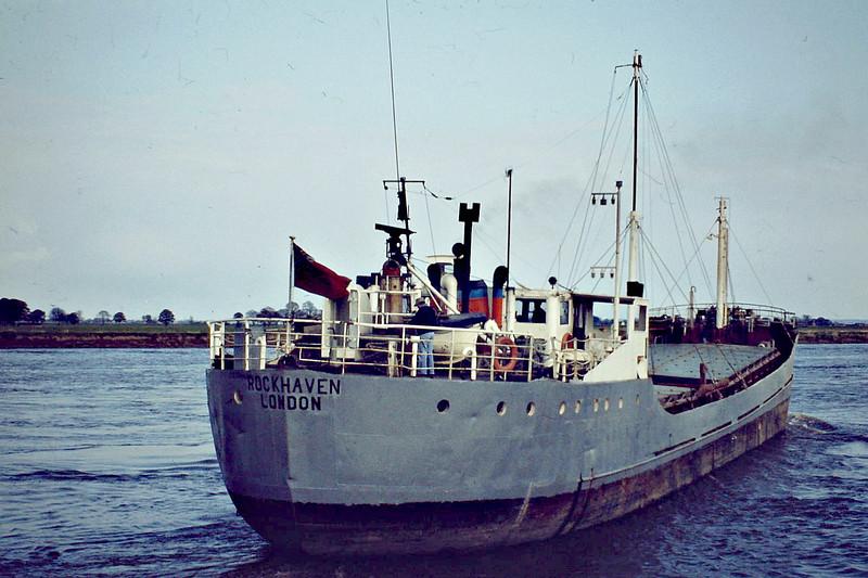 1980 to 1982 - ROCKHAVEN - Cargo - 498GRT/600DWT - 52.9 x 8.2 - 1966 Scheeps Brugeoise, No.42 as ROODEBEEK (1966-69) - LISELOTTE FLINT (1969-72),  TURNBERRY (1972-80) - 1982 STERN, 1986 SEA EAGLE, 1991 ASTRID, 1992 CAMARGUE - 01/94 broken up - Kings Lynn, outward bound loaded with grain, 05/81.