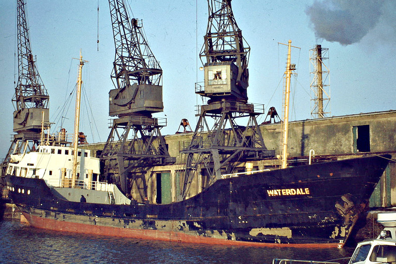 1972 to 1987 - WATERDALE - Cargo - 423GRT/650DWT - 53.0 x 8.7 - 1957 Schiffs Brand, Oldenburg, No.139 as WALTER RICHTER (1957-72) - 1988 SANDY (ATG) - still trading - Boston, unloading fertiliser, 12/80.
