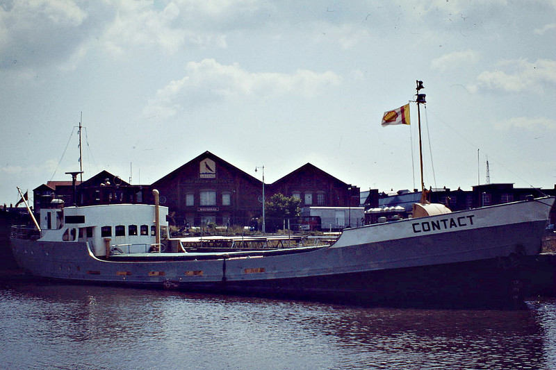 1952 to 1970, 1980 to 1988 - CONTACT - Cargo - 263GRT/315DWT - 41.0 x 7.1 - 1950 Scheeps Worst & Dutmer, Meppel, No.100 as GESINA (1950-52) - HOOTACT (1970-80) - 1985 sold to Caribbean Island Shipping, Willsemstad, name unchanged - 1988 deleted from Lloyd's Regisyer, existence in doubt - Great Yarmouth, to load grain, 07/81.