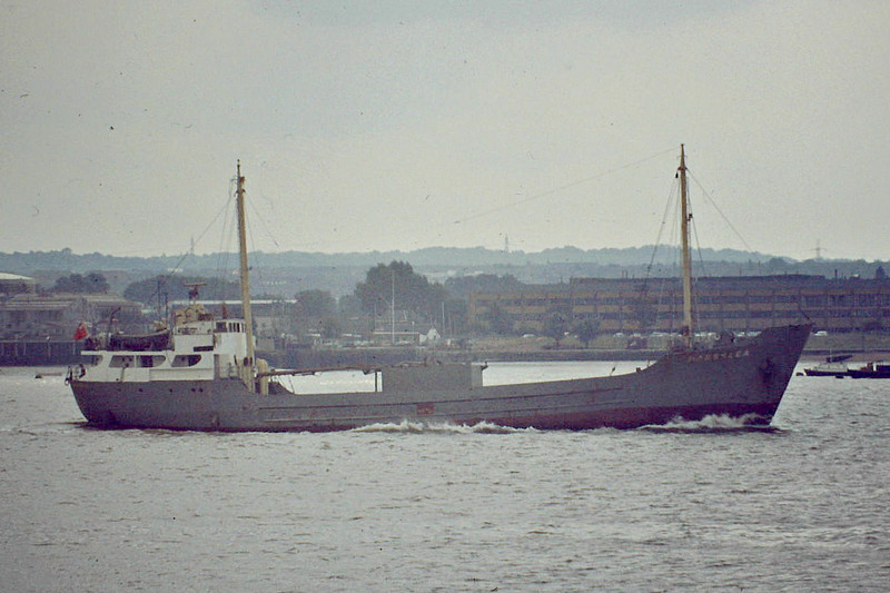 1973 to 1982 - MARSHLEA - Cement Carrier - 495GRT/835DWT - 56.0 x 9.5 - 1957 Kalmar Varv, No.388 as MARSHLEA - 1978 converted to cement carrier - 07/82 broken up at 'sGravendeel - Tilbury, inward bound for Bevans Jetty, 08/81.