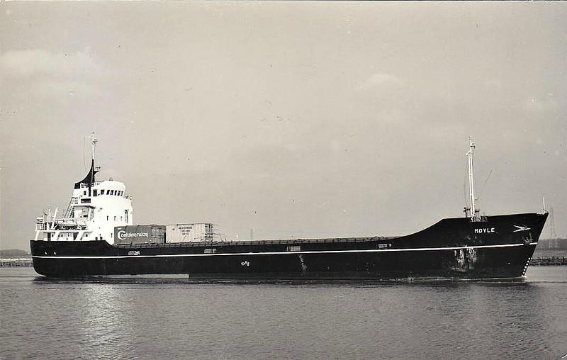 1967 to 1978 - MOYLE - Cargo - 1325GRT/2048DWT - 69.9 x 11.1 - 1967 Scheeps Boeles, Bolnes, No.1027 - 1978 MARIYOS STAR, 1982 KAINA, 1987 STARIA, 1989 SHERYNA, 1998 YOUNISS K, 1999 AYAH, 2006 CARINE K, 2009 LILIA - 05/10 broken up at Aliaga.