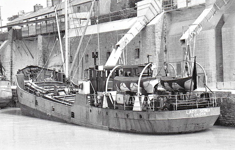 1954 to ???? - LADY SONIA - Cargo - 199GRT/225DWT - 33.0 x 6.6 - 1929 Scheeps J Meyer, Zaltbommel as APOLLINARIS III (1929-37) - PARKSTONE (1937-54) - fate not known.