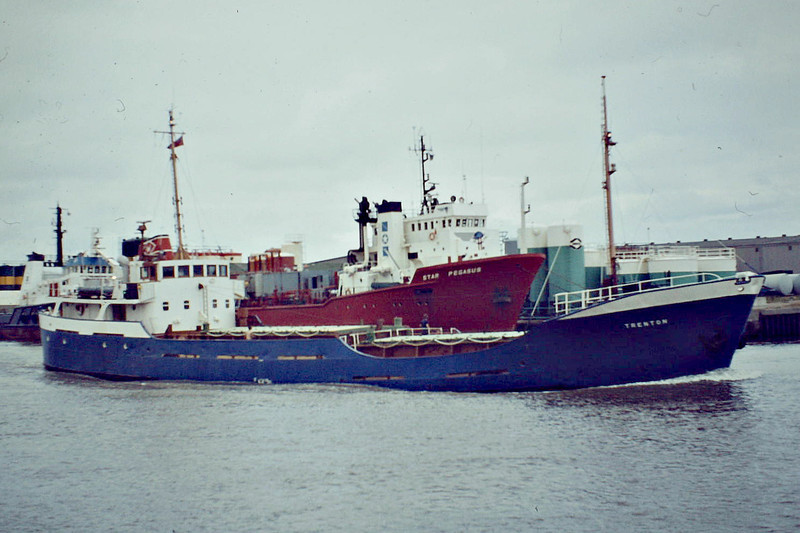 1984 to 1992 - TRENTON - Cargo - 604GRT/837DWT - 54.0 x 9.1 - 1964 Goole Shipbuilders, No.547 as TRENTONIA (1964-84) - 1992 sold, name unchanged - 09/10 broken up - Great Yarmouth, outward bound loaded with grain, 08/84.