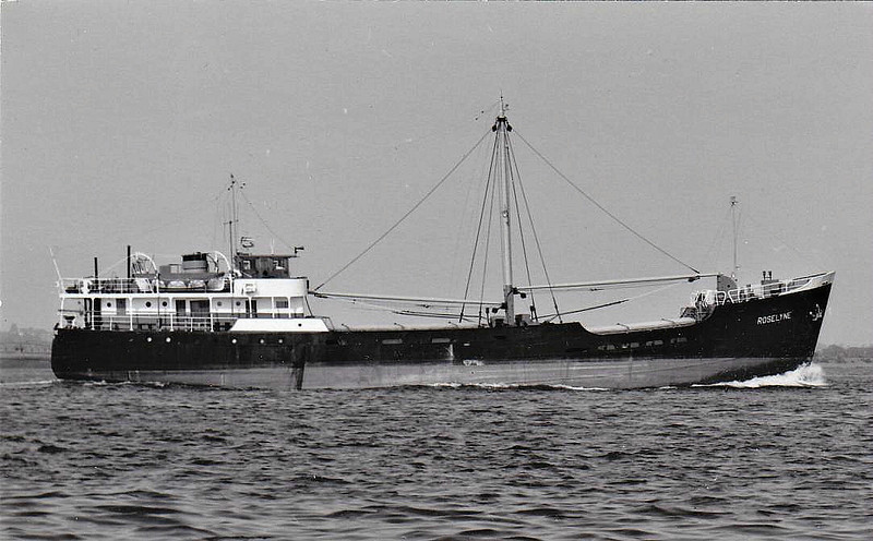 1955 to 1966 - ROSELYNE - Cargo - 422GRT/550DWT - 46.3 x 7.9 - 1939 Scheeps Foxhol, No.49 as POLDHU (1939-55) - 1966 ANNA, 1976 ELEUSI - 1997 deleted from Lloyd's Register, existence in doubt.