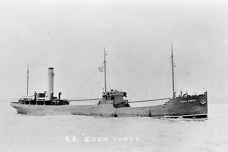 1918 to 1940 - EDEN FORCE - Cargo - 863GRT - 60.3 x 9.4 - 1915 W Ropner & Sons, Stockton, No.502 as EDENWOOD (1915-18) - 10/12/40 sunk in collision with NICETO DE LARRINAGA (GBR/9900/16) 3 cables southeast of the East Breakwater, Barry, Liverpool for Bristol.