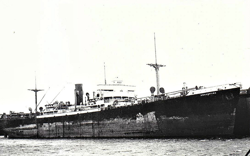 1947 to 1951 - BROOMPARK - Cargo - 'Ocean' Type - 7173GRT/10490DWT - 134.6 x 17.4 - 1942 Todd-Bath Shipbuilding Corpn., Portland, ME, No.12 as OCEAN STRENGTH (1942-47) - 1951 GARRYVALE, 1957 AFRICAN LADY - 01/65 broken up at Osaka.