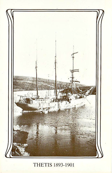 1893 to 2001 - THETIS - 3-masted Barquentine - 343GRT - 41.0 x 7.8 - 1893 McMillan & Co., Dumbarton, No.322 - 21/07/01 lost with all hands en route from Port Stanley for Salvador.