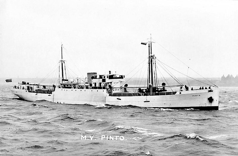 1927 to 1944 - PINTO - Cargo - 1346GRT - 82.3 x 11.9 - 1928 Harland and Wolff, Govan, No.744 - 08/09/44 torpedoed and sunk by U482 15 miles off Donegal Coast, Halifax for Greenock in ballast, 23 dead.