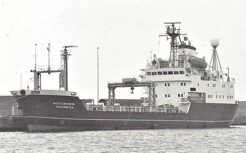 1981 to 1994 - MEDITERRANEAN SHEARWATER (Barrow) - Irradiated Nuclear Fuel Carrier - 2486GRT/1583DWT - 80.0 x 12.6 - 1981 Swan Hunter & Co., Hebburn, No.115 - 1994 EUROPEAN SHEARWATER - 09/09 broken up at 's Gravendeel.