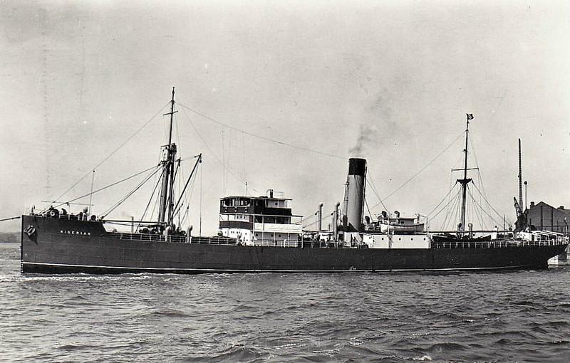 1936 to 1942 - NIGERIAN - Cargo - 5423GRT/8080DWT - 1836 Deschimag Seebeck, Bremerhaven, No.897 - 127.3 x 17.6 - 08/12/42 torpedoed 200km SE of Trinidad by U508.