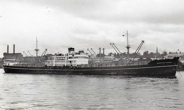 1948 to 1960 - SCOTTISH TRADER - Cargo - 7328GRT/10300DWT - 138.6 x 17.8 - 1948 Lithgows Shipbuilders, Port Glasgow, No.1038 - 1960 NORTH CAMBRIA, 1963 BANNERCLIFF, 1970 SILVER COAST, 1973 GRANIKOS - 13/10/73 fire & explosion Nuevitas, beached & broken up at Santander, 04/74.
