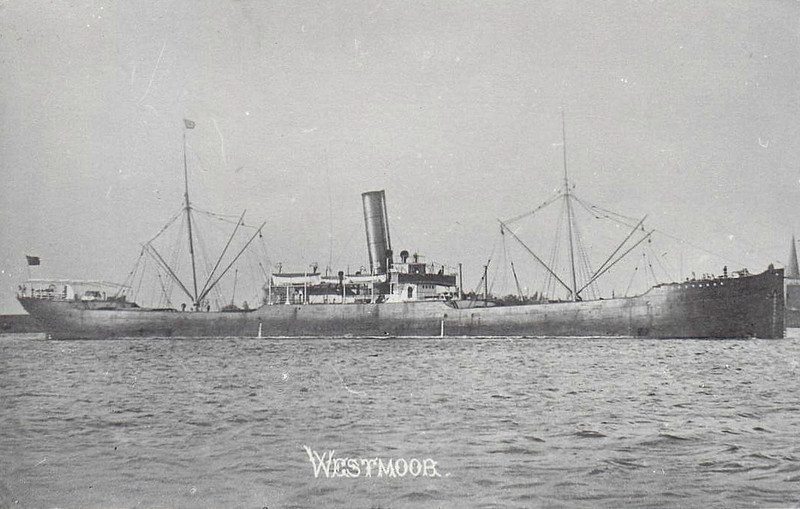 1900 to 1911 - WESTMOOR - Cargo - 3591GRT - 104.0 x 14.2 - 1900 Redhead & Co., south Shields, No.347 - 1911 RIO LAJES - 26/04/17 torpedoed by U69 and sunk 50nm west of Kerry, Cienfuegos for Queenstown with sugar.