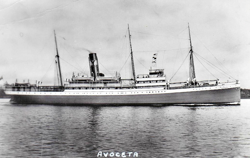 1923 to 1941 - AVOCETA - Pass/Cargo - 3442GRT/4300GRT - 97.2 x 13.5 - 1923 Caledon Shipbuilding & Engineering Co., No.279 - 25/09/41 torpedoed and sunk in Convoy HG73 northwest of Gibraltar by U203.