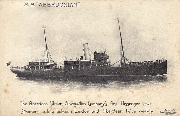 ABERDEEN STEAM NAVIGATION CO. - 1909 to 1946 - ABERDONIAN - Pass/Cargo - 1648GRT - 80.6 x 11.0 - 1909 D Henderson & Co., Meadowside, No.466 - 1946 TAISHAN PEAK, 1948 PARVIZ - 12/49 broken up at Bombay.