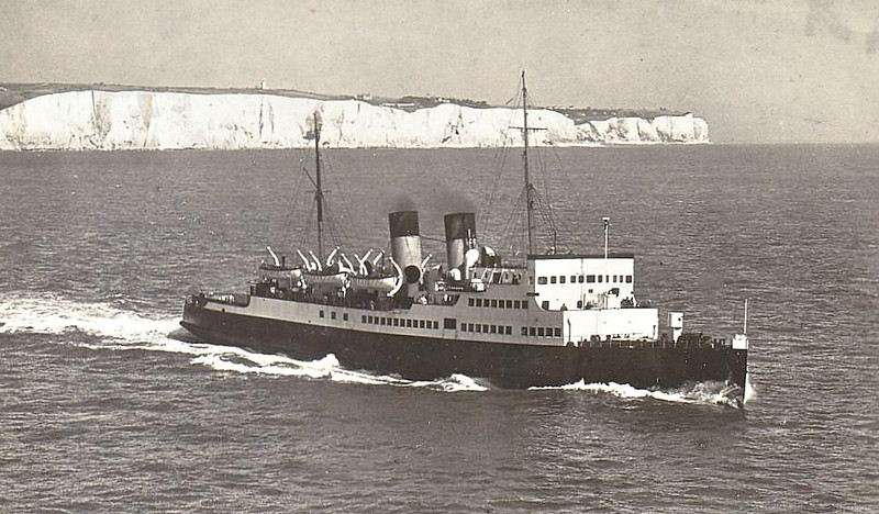 1924 to 1959 - DINARD - Passenger - 2291GRT - 96.3 x 12.5 - 1924 W Denny & Bros., Dumbarton, No.1164 - 1300 passengers - Southampton/Channels Islands service - 1939 HOSPITAL SHIP No.28, 05/40 Dunkirk, 1943 Mediterranean, 06/44 Normandy landings, 07/07/44 mined of Juno Beach, 12/44 repaired, 07/45 returned to owners, 08/46 converted to lift-on car carrier, 300 passengers, 80 vehicles, 1959 VIKING (FIN) - 10/73 broken up at Helsinki - seen here after 1946 rebuild.
