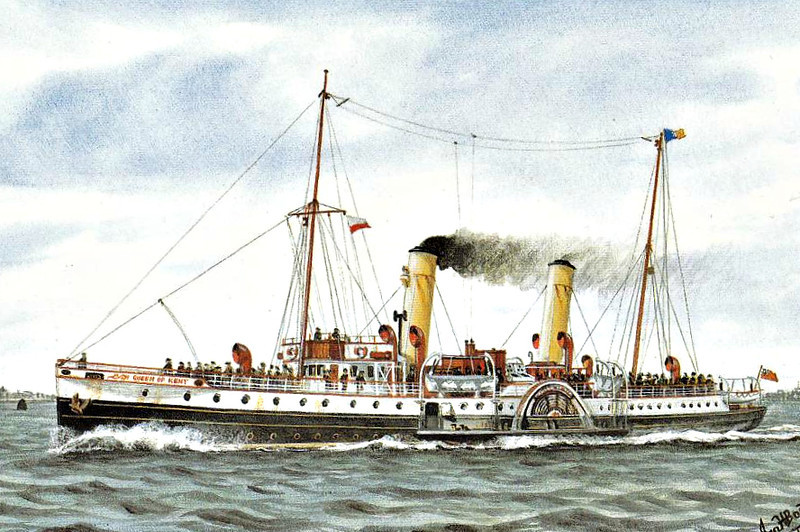 1927 to 1949 - QUEEN OF KENT - Passenger - 810GRT - 74.9 x 8.9 - 1917 Ailsa Shipbuilding Co., Troon, No.298 as HMS ATHERSTONE, Ascot Class Minesweeper - 1927 converted to Passenger Ship, renamed QUEEN OF KENT, 1949 LORNA DOONE - 03/52 broken up at Dover.