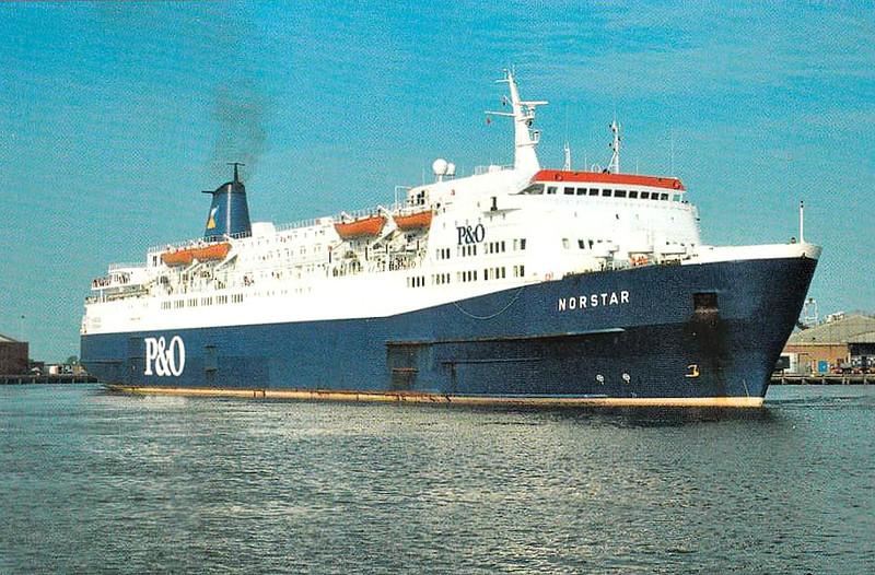 1974 to 2002 - NORSTAR - Pass/RoRo - 12502GRT/4578DWT - 153.0 x 25.2 - 1974 Schiffs Weser Seebeck, Bremerhaven, No.973 - Hull/Rotterdam service - 2002 SNAV CAMPANIA - 11/10 broken up at Alang.
