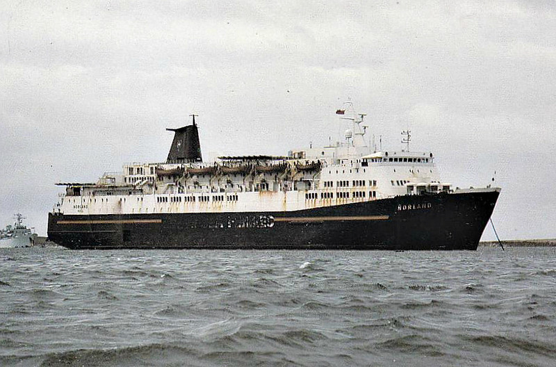 1974 to 2002 - NORLAND - Pass/RoRo - 12988GRT/4036DWT - 153.0 x 25.2 - 1974 Weser Seebeck, Bremerhaven, No.972 - new to Hull - Rotterdam service - 1982 requisitioned for service with Falklands Task Force, as seen here - 1987 lengthened to 173.3, 26290GRT/5558DWT - 2002 SNAV SICILIA - 11/10 broken up at Alang.