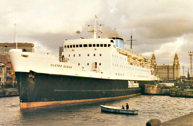 1967 to 1982 - ULSTER QUEEN - Pass/RoRo - 4479GRT/1390DWT - 115.0 x 16.5 - 1967 Cammell Laird & Co., Birkenhead, No.1323 - 1000 passengers - new to Liverpool/Belfast night service - 1982 MED SEA, 1986 AL KAHERA, 1987 ALA-EDDIN, 1988 POSEIDONIA, 2000 LA PATRIA, 2002 POSEIDONIA, 2005 AL-KAHFAIN - 01/11/05 fire off Hurghada, capsized in tow, sank, Hurghada for Jeddah.