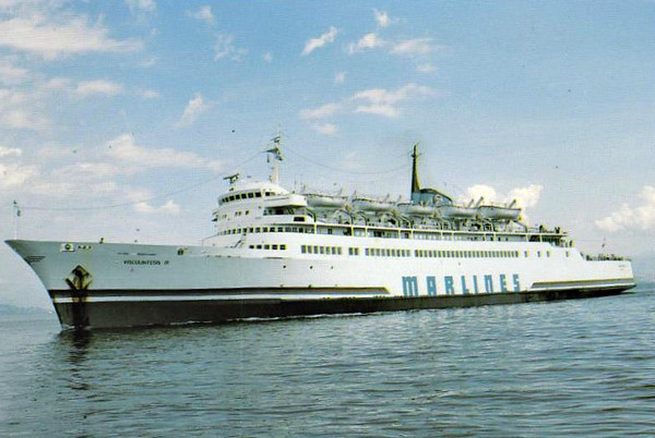1967 to 1986 - DRAGON - Pass/RoRo - 6141GRT/2100DWT - 135.6 x 21.9 - 1967 Chantiers du Bretagne, Prairie-au-Duc, No.16108 - 1986 IONIC FERRY, 1992 VISCOUNTESS M, 1995 CHARM M, 1997 MEMED ABASHIDZE, 2000 MED, 2000 MILLENIUM EXPRESS II - 02/03/02 fire 20nm south of Zakynthos, Piraeus for Albania in ballast, 04/02 broken up at Aliaga - seen here as VISCOUNTESS M (Matelot Shipping, Cyprus).