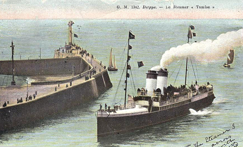 LBSCR - 1893 to 1913 - TAMISE - Passenger - 892GRT - 82.0 x 9.0 - 1893 Les Forges et Chantiers de la Mediterranee, Le Havre - registered in Dieppe, French flag - 04/13 broken up at Dunkirk - posted June 25th, 1909.