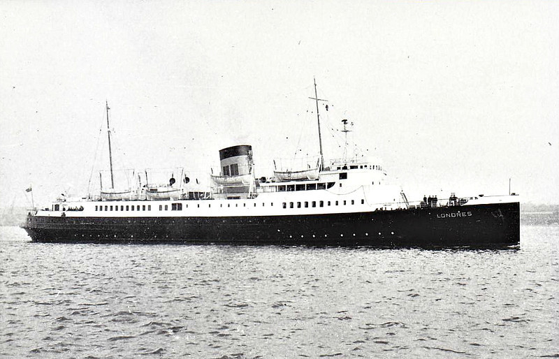 1946 to 1963 - LONDRES - Passenger - 2434GRT/335DWT - 94/5 x 12.1 - 1945 Chantiers de la Mediterranee, Le Havre - 1450 passengers - Newhaven/Dieppe service - 1940 launched, taken by Germans, 06/44 converted to Minelayer and completed by Germans as LOTHRINGEN, 11/45 captured at Kiel, 04/46 entered service as LONDRES, 1955 transferred to BTC - 1963 IONION II, 1964 SOFOCLIS VENIZELOS - 16/04/66 fire at Piraeus, beached to avoid sinking and broken up.