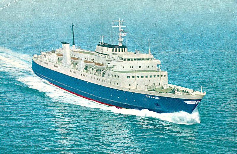 1966 to 1976 - TOR ANGLIA - Pass/RoRo - 7388GRT/2463GRT - 138.0 x 21.6 - 1966 Flenderwerft, Lubeck, No.555 - 992 passengers - 1976 ESPRESSO OLBIA, 1982 SARDINIA NOVA - 2011 accommodation hulk at Iskenderun, renamed ATLAS HAN.