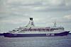 1975 to 1990 - TOR BRITANNIA - Pass/RoRo - 15657GRT/3200DWT - 182.4 x 22.6 - 1975 Flender Werft, Lubeck, No.607 - SCANDINAVIAN STAR (1981-82) - 1990 PRINCE OF SCANDINAVIA, 1998 lengthened to 187.5m, 22528GRT/3335DWT, 2003 MOBY DREA (ITA) - still trading - Felixstowe, 08/81.