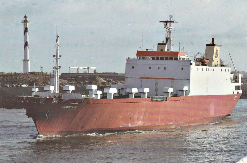 1987 to 2003 - JUNIPER - Cargo/RoRo  - 1576GRT/2700DWT - 109/7 x 17.5 - 1977 Chantiers Nouvelle du Havre, No.237 as CAP BENAT (1977-87) - 2003 SANTA RITA (MEX) - still trading.