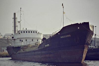 ANGLEZARKE (Goole) - IMO5249560 - Tanker - 654GRT/854DWT - 62.8 x 8.9 - 1956 Schlichting Werft, Trsvemunde, No.1266 as NESSAND (1956-67) - OTTO (1967-68), OTTO TERKOL (1968-71), MABULI (1971-75) - 07/88 broken up at Garston - seen here at Goole, 08/84.