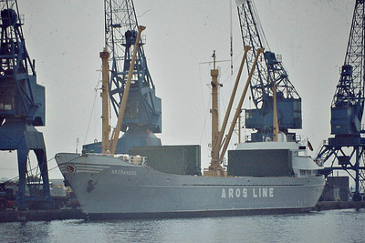 AROSANDRA (Hamburg) - IMO6515409 - Cargo - 499GRT/1145DWT - 66.2 x 10.6 - 1965 JJ Sietas Schiffswerft, Hamburg, No.492 - Partrederei Arosandra - Goole, June 1982 - 1991 converted livestock carrier, BASSMA - still trading as AMAL (MDV).