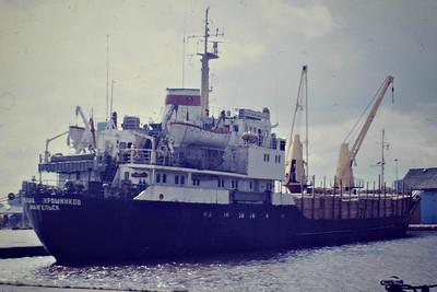ALEKSANDR MORISHNIKOV (Archangel) - IMO7119434 - Cargo - 1698GRT/2444DWT - 82.0 x 12.5 - 1971 Okean Shipyard, Oktyabrskoye, No.205 - 1998 TIMBER EXPRESS, 2004 FORESTER - still trading - seen here at Hull, September 1985.