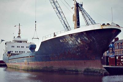 ALFER () - IMO7373566 - Cargo - 1569GRT/2700DWT - 81.8 x 13.5 - 1974 Astilleros Dura Felguera, Gijon, No.105 - seen here discharging steel at Goole in July 1982 - still trading as LUGELA (MOZ),