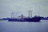 ANVERSA (Piraeus) - IMO5285837 - Cargo - 4230GRT/6570DWT - 113.6 x 15.5 - 1958 Cantieri Navale Apuania, Marina di Carrara, No.53 - Empros Lines - Ipswich, passing Cliff Quay outward bound, 1979 - 20/05/82, as TARTOUS, wrecked 17.16S/38.47E, Constanta-Beira.