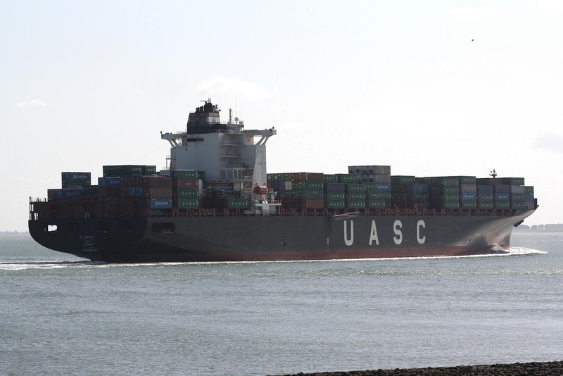 AL SAFAT (Kuwait) - IMO9349497 - Container Ship - KWT/85437/08 Hyundai Heavy Industries, Ulsan, No.1832 - 306.0 x 40.1 - United Arab Shipping Co. - Terneuzen, inward bound for Antwerp, 15/07/09.