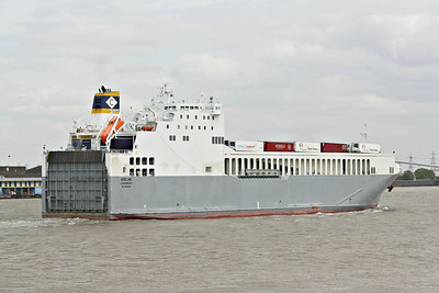 ADELINE (Luxemburg) - IMO9539092 - Cargo/RoRo - LUX/6374/12 Kyokuyo Zosensho, Chofu, No.503 - 152.0 x 22.0 - Euroship Services, Purfleet - Northfleet, outward bound from Purfleet Deep Water Wharf foe Zeebrugge, 13/05/13.