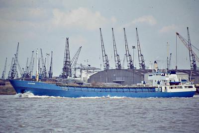 AASVAER (Bergen) - IMO6902808 - Cargo - NOR/2218/68 Baatservice, Mandal, No.543 - 68.1 x 11.4 - A/S Aasland K/S - still trading as TORVANG (NOR) - Northfleet, inward bound, 04/84.
