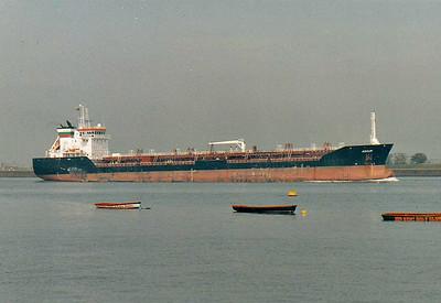 ADOUR (Marseille) - IMO9256652 - Tanker - FRA/15267/03 Damen Okean Shipyard, Mikolayev, No.9104 - 140.0 x 21.0 - Sea Tankers Shipping - Gravesend, outward bound, 10/10/07.