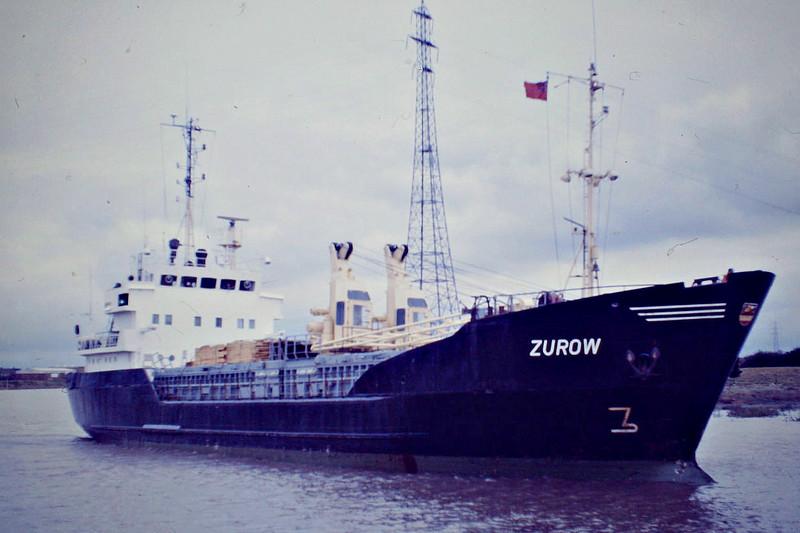 ZUROW (Rostock) - IMO7111690 - Cargo - DDR/718/72 Elbewerft, Boizenburg, No.290 - Type 299 - 57.7 x 10.4 - VEB Deutfracht Seereederei - 1997 converted to bunkering tanker MATALOBOS (LTV) - still trading - Boston, inward bound, 10/84.