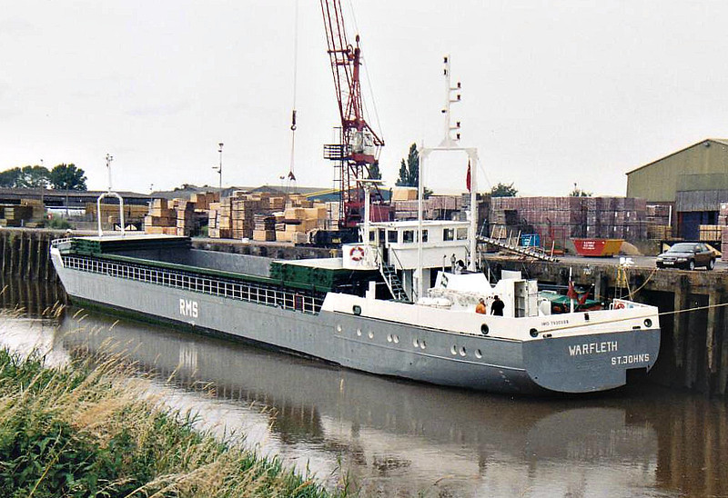 WARFLETH (St Johns) - IMO7920388 - Cargo - ATG/1092/80 Schiffs Detlef Hegemann Rolandwerft, Bremen, No.108 - 74.0 x 9.5 - Blanke Schiffs -2008 EMSRIFF (DEU) - Wisbech, unloading bricks from Aalst, 16/07/07.