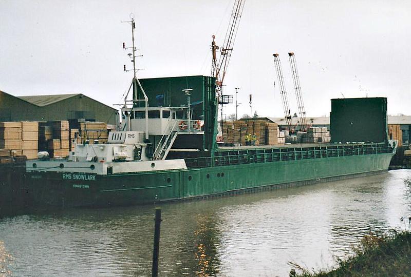 RMS SNOWLARK (Kingstown) - IMO8412417 - VCT/1555/84 Schiffs Suurken, Papenburg, No.331 - 74.9 x 10.6 - Vista Shipping, Tallinn - Wisbech, unloading timber at Swiftwood, 26/02/08 - 08/08 SNOWLARK (VCT).