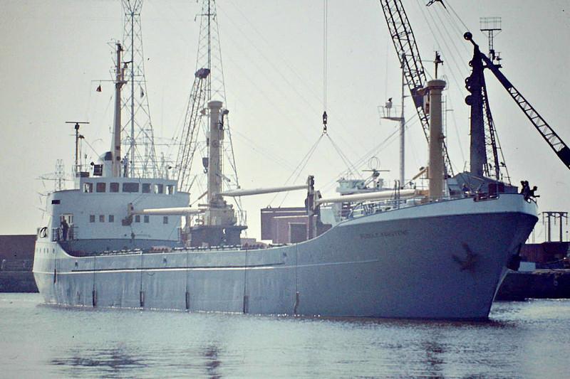 RUDOLF KARSTENS (Hamburg) - IMO6611784 - Cargo - DEU/1262/66 JJ Sietas Schiffs, Hamburg, No.563 - 74.2 x 10.8 - Partrederi Rudolf Karstens - 14/11/10 sank alongside at Port Tewfik - Kings Lynn, passing through Alexandra Dock en route to Bentinck Dock to unload, 08/82.