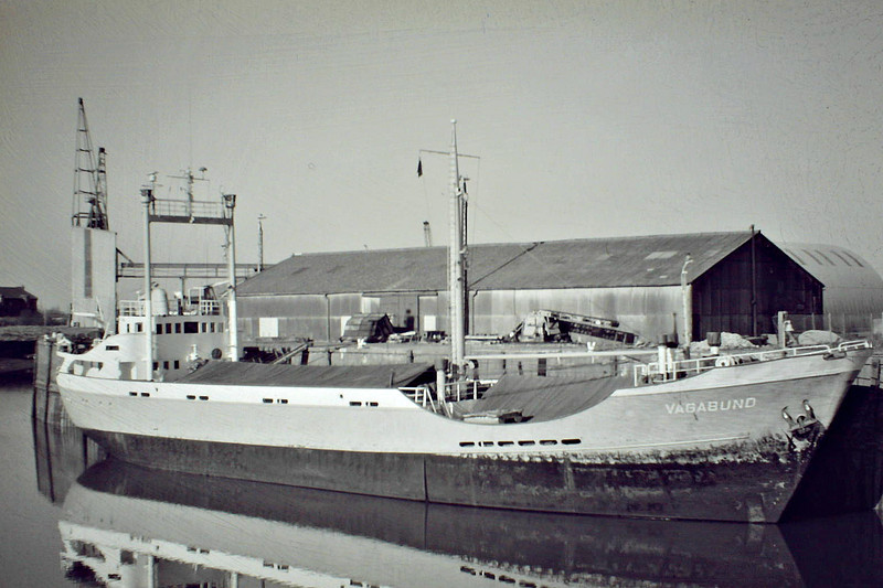 VAGABUND (Hamburg) - IMO5063588 - Cargo - DEU/889/60 JJ Sietas Schiffswerft, Hamburg, No.475 - 56.2 x 9.5 - Irmgard Meyer - still trading as SEA STAR II (PAN) - Boston, loading grain on a river quay, 02/85.